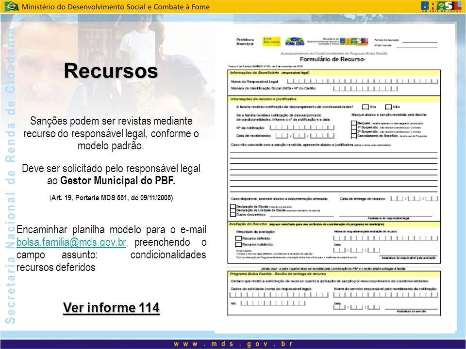 Recursos Sanções podem ser revistas mediante recurso do responsável legal, conforme o modelo padrão.
