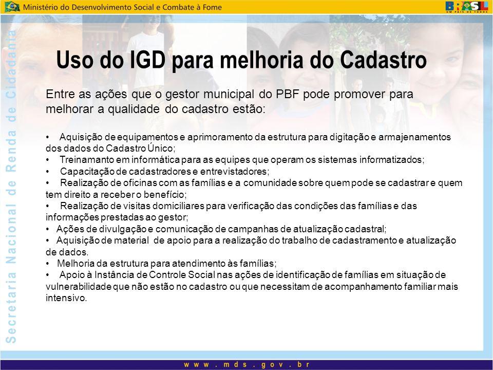 Uso do IGD para melhoria do Cadastro
