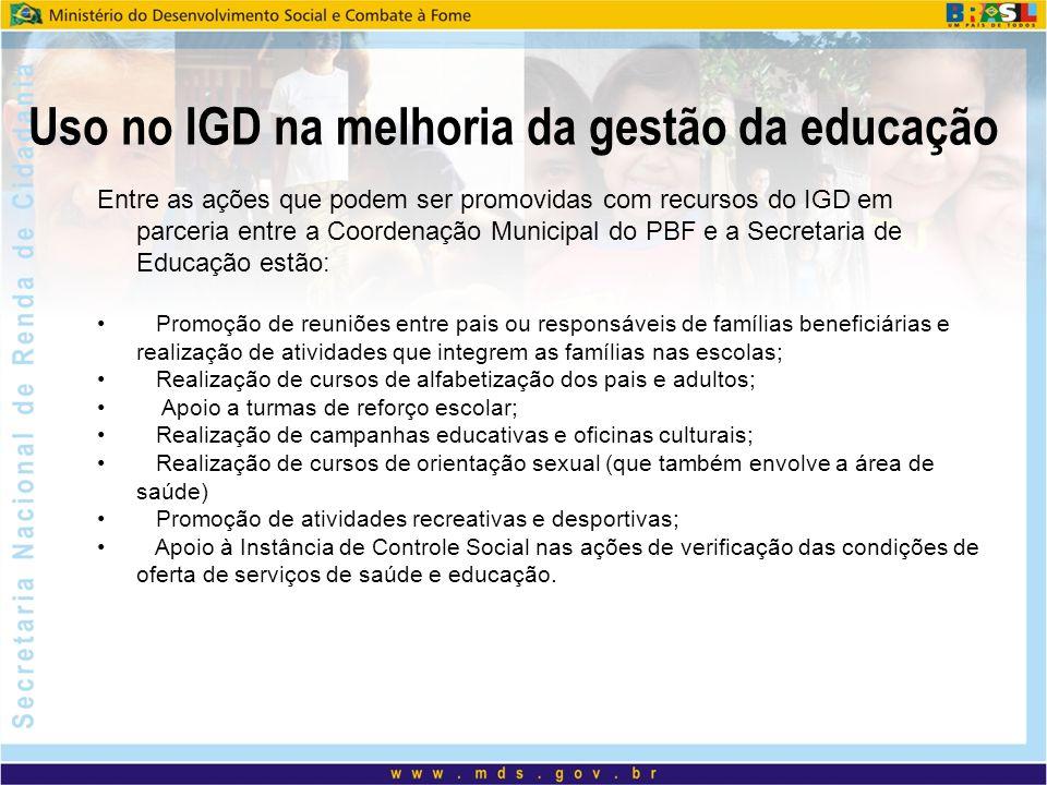 Uso no IGD na melhoria da gestão da educação