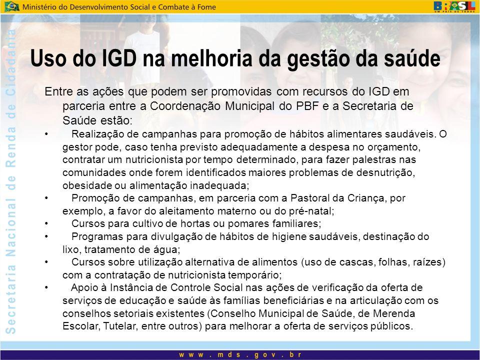 Uso do IGD na melhoria da gestão da saúde