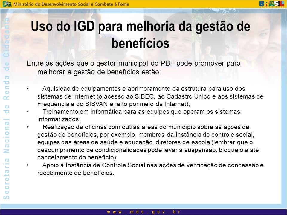 Uso do IGD para melhoria da gestão de benefícios