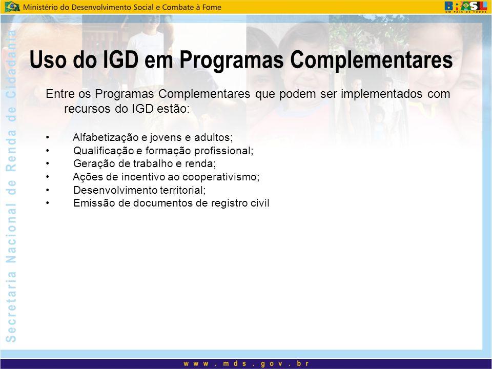 Uso do IGD em Programas Complementares