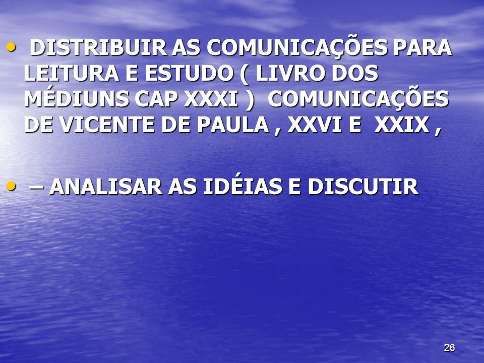 DISTRIBUIR AS COMUNICAÇÕES PARA LEITURA E ESTUDO ( LIVRO DOS MÉDIUNS CAP XXXI ) COMUNICAÇÕES DE VICENTE DE PAULA , XXVI E XXIX ,