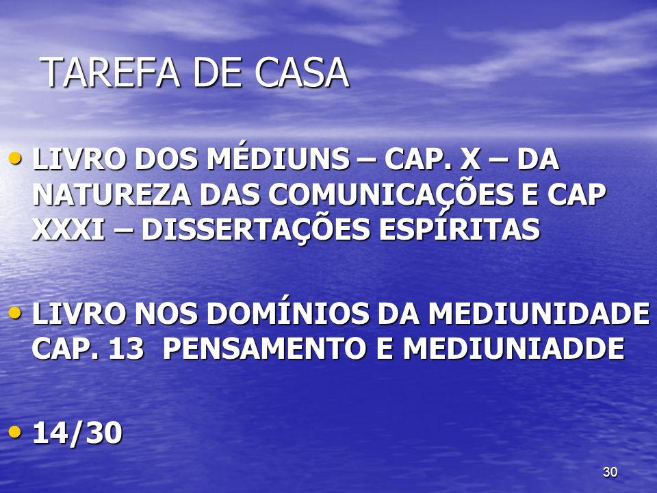 TAREFA DE CASA LIVRO DOS MÉDIUNS – CAP. X – DA NATUREZA DAS COMUNICAÇÕES E CAP XXXI – DISSERTAÇÕES ESPÍRITAS.