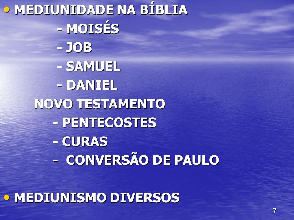 MEDIUNIDADE NA BÍBLIA - MOISÉS. - JOB. - SAMUEL. - DANIEL. NOVO TESTAMENTO. - PENTECOSTES. - CURAS.