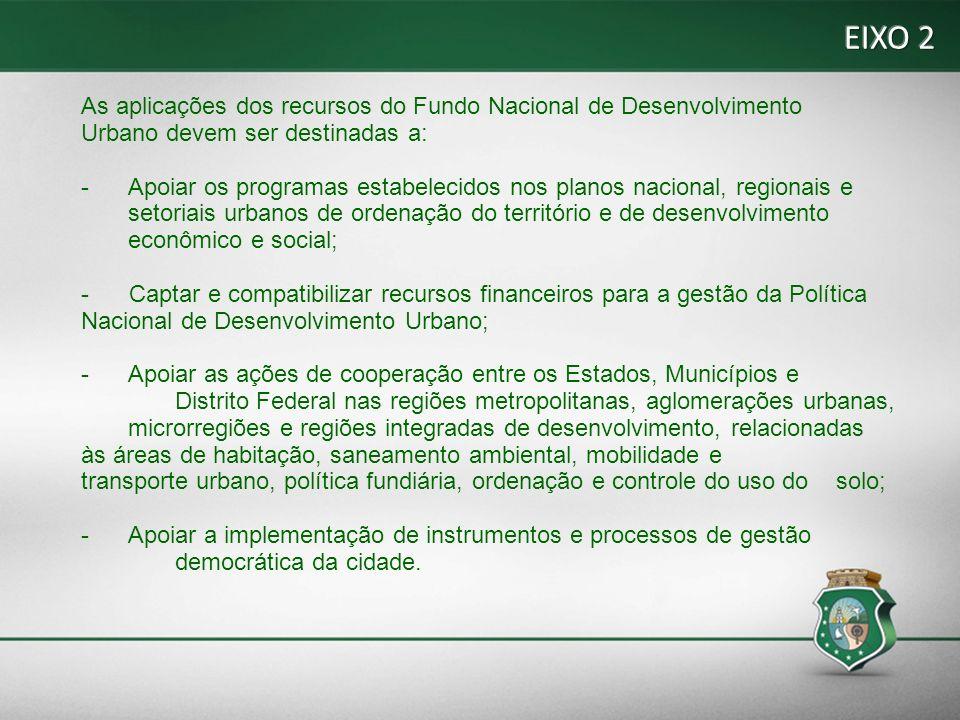 EIXO 2 As aplicações dos recursos do Fundo Nacional de Desenvolvimento Urbano devem ser destinadas a: