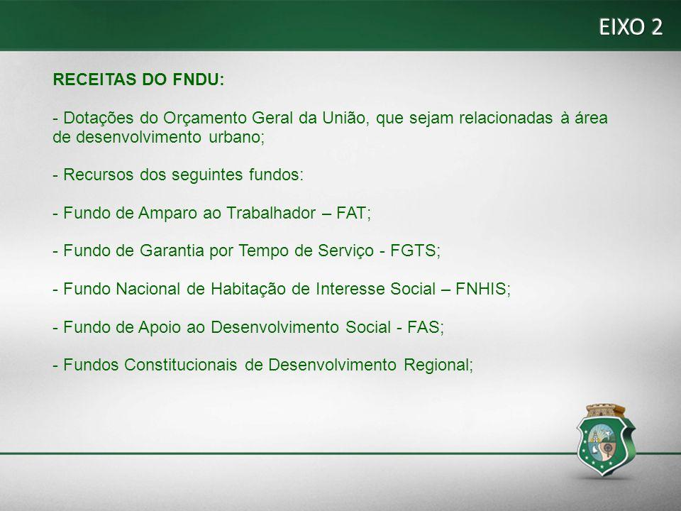 EIXO 2 RECEITAS DO FNDU: - Dotações do Orçamento Geral da União, que sejam relacionadas à área de desenvolvimento urbano;