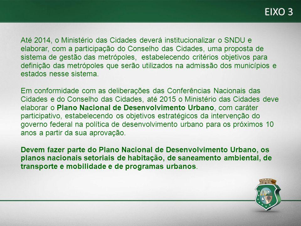 EIXO 3 Até 2014, o Ministério das Cidades deverá institucionalizar o SNDU e.