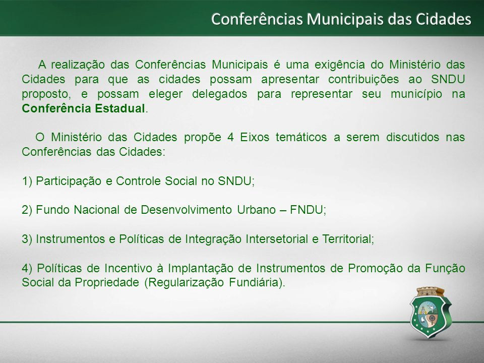 Conferências Municipais das Cidades