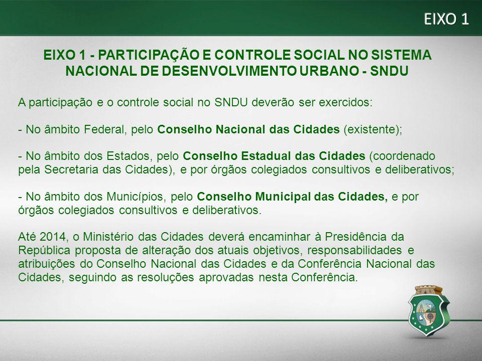 EIXO 1 EIXO 1 - PARTICIPAÇÃO E CONTROLE SOCIAL NO SISTEMA NACIONAL DE DESENVOLVIMENTO URBANO - SNDU.