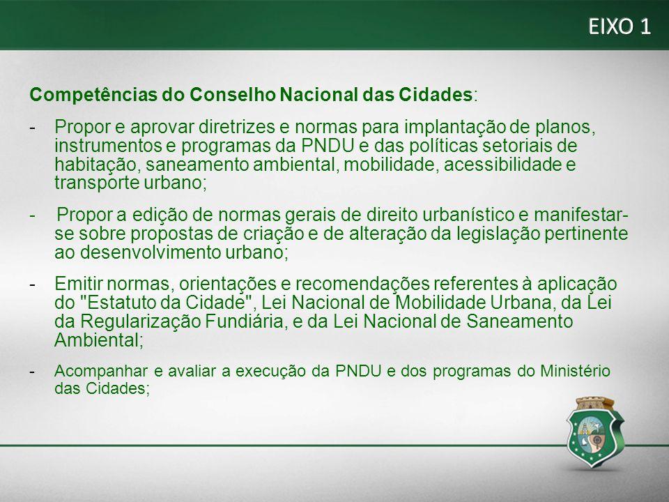 EIXO 1 Competências do Conselho Nacional das Cidades: