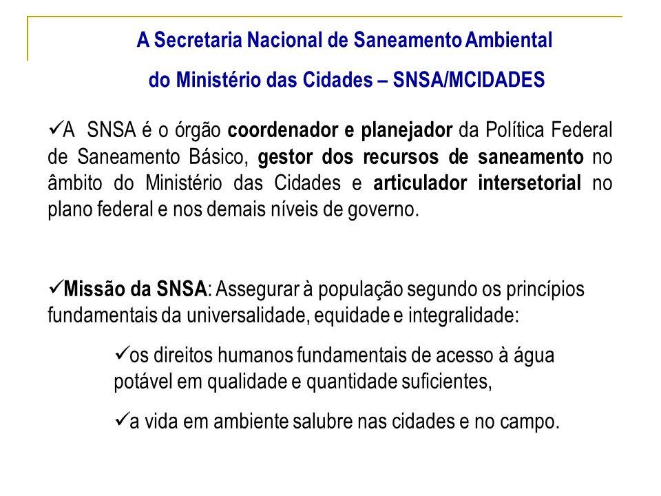 A Secretaria Nacional de Saneamento Ambiental