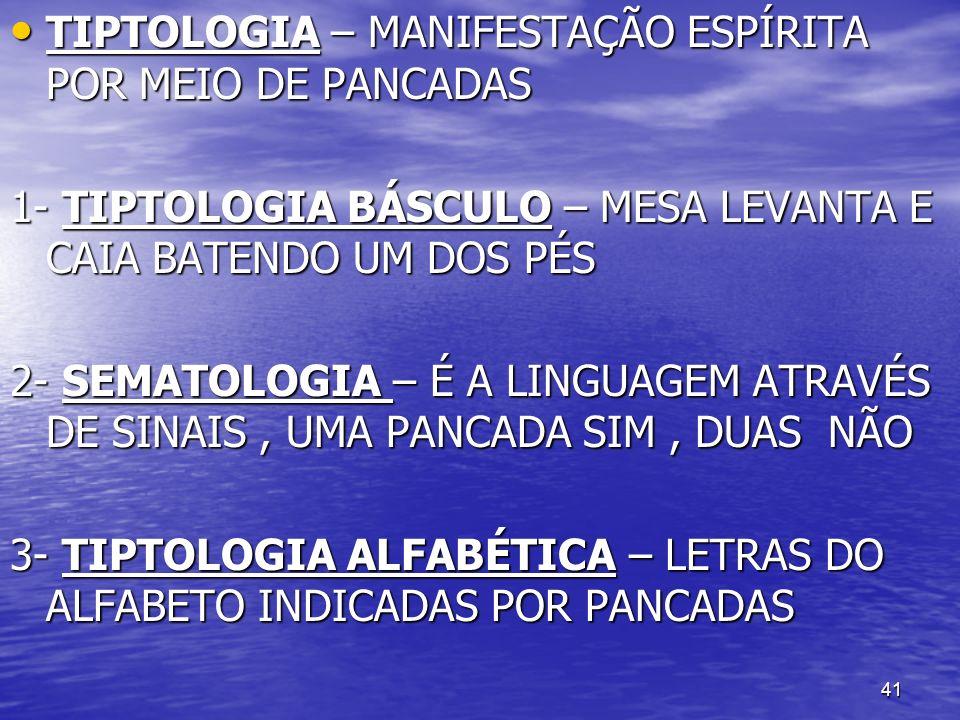 TIPTOLOGIA – MANIFESTAÇÃO ESPÍRITA POR MEIO DE PANCADAS