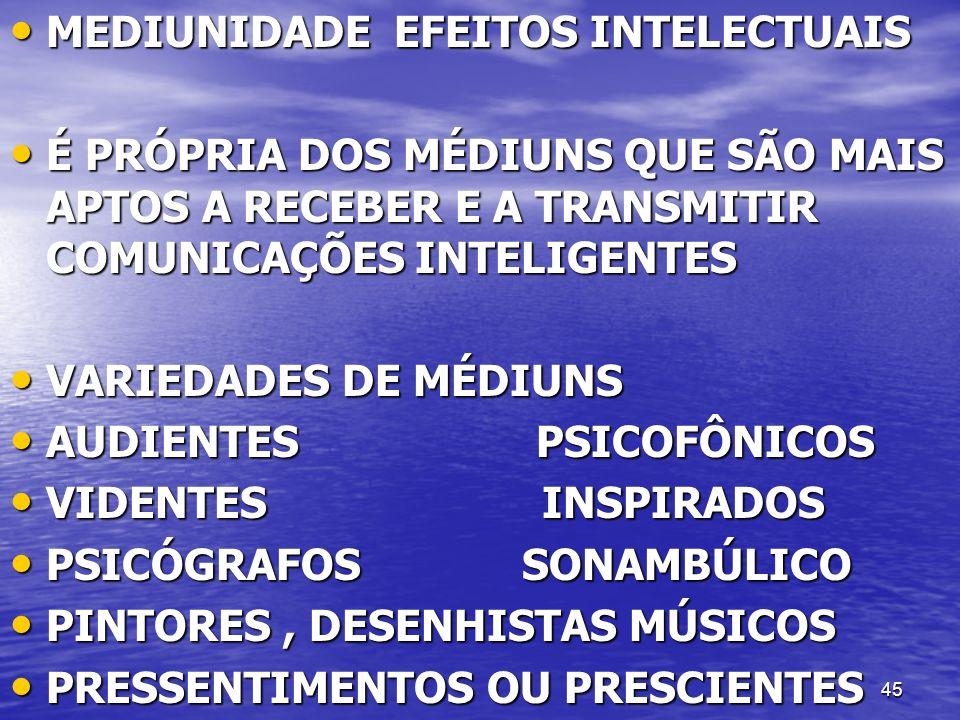 MEDIUNIDADE EFEITOS INTELECTUAIS