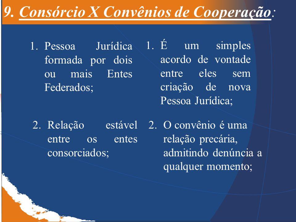 9. Consórcio X Convênios de Cooperação: