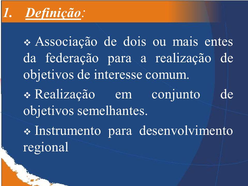 Definição: Associação de dois ou mais entes da federação para a realização de objetivos de interesse comum.