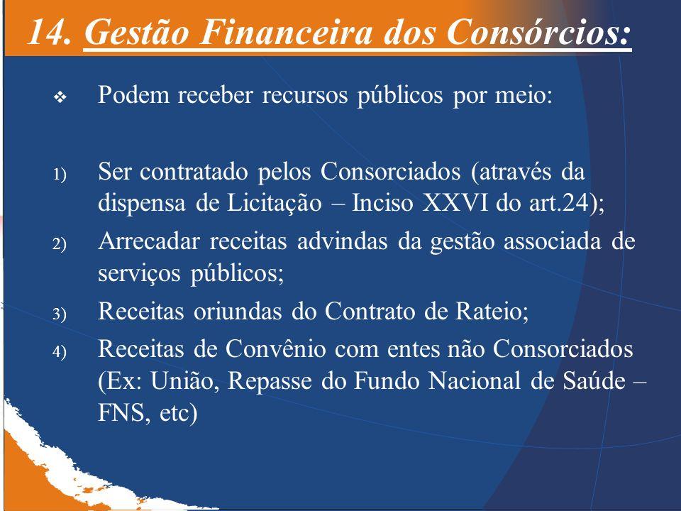 14. Gestão Financeira dos Consórcios: