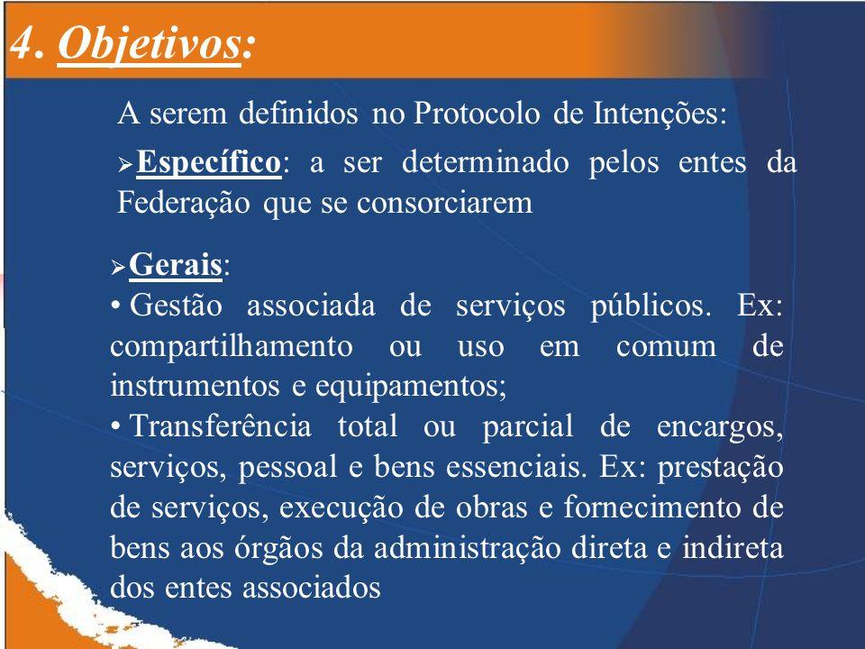 4. Objetivos: A serem definidos no Protocolo de Intenções: