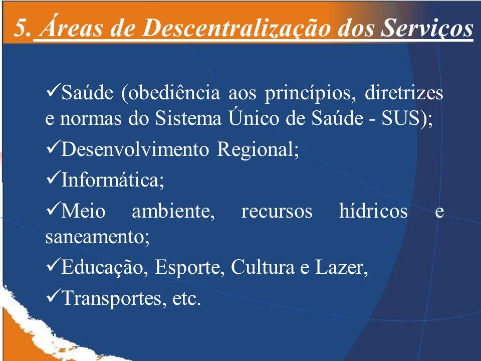 5. Áreas de Descentralização dos Serviços