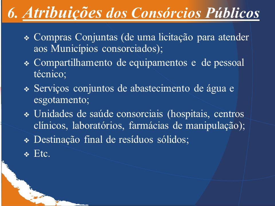 6. Atribuições dos Consórcios Públicos