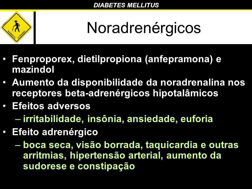 Noradrenérgicos Fenproporex, dietilpropiona (anfepramona) e mazindol