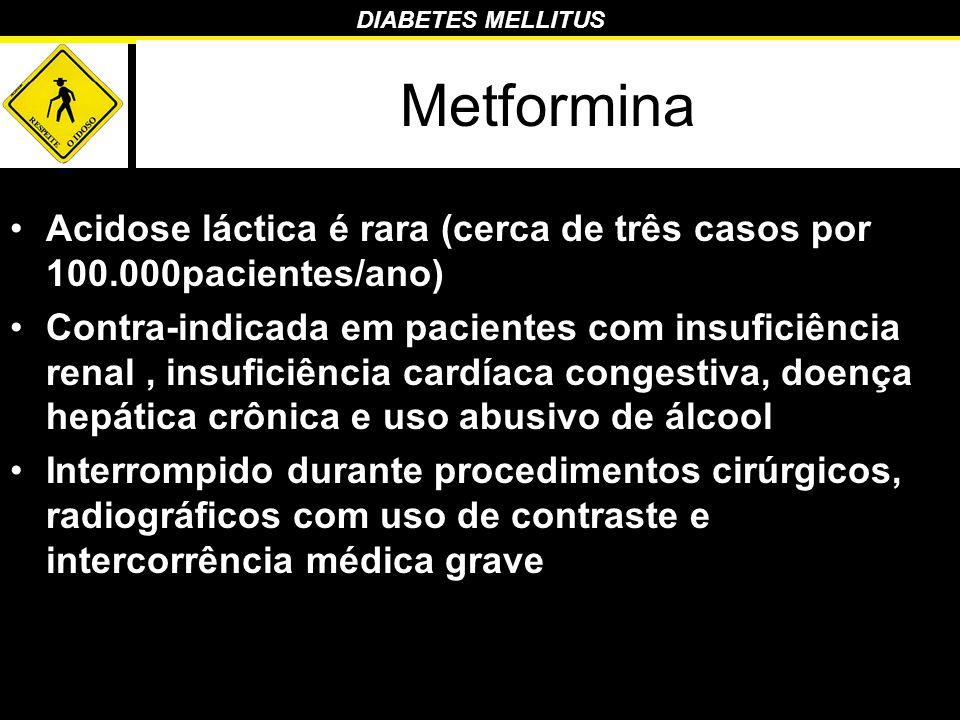 Metformina Acidose láctica é rara (cerca de três casos por 100.000pacientes/ano)