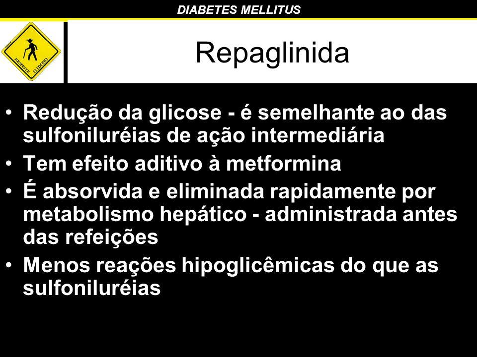Repaglinida Redução da glicose - é semelhante ao das sulfoniluréias de ação intermediária. Tem efeito aditivo à metformina.