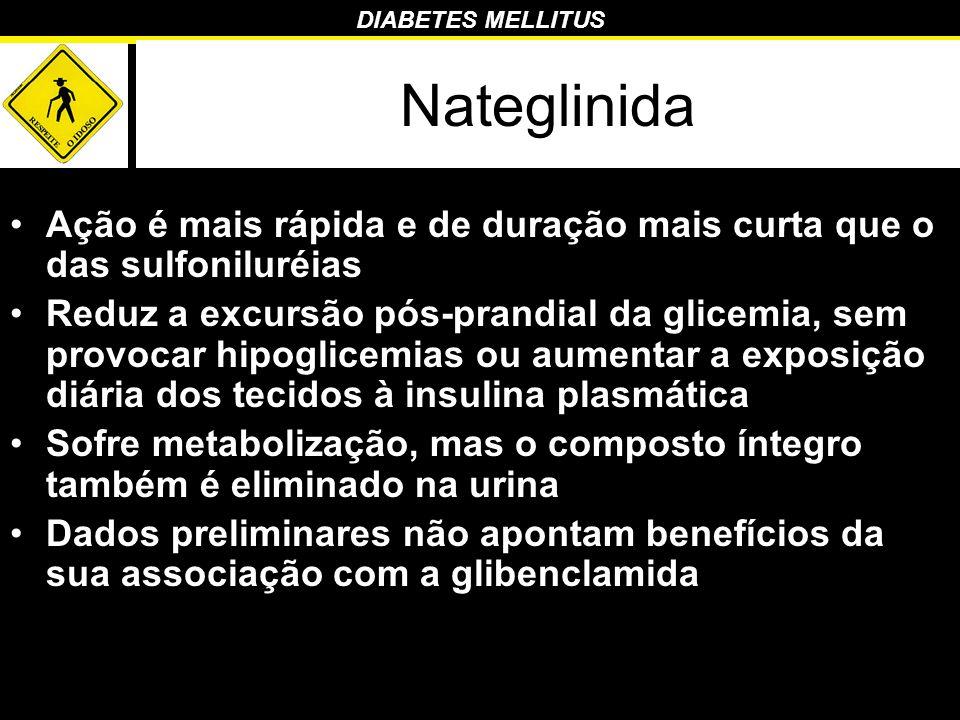 Nateglinida Ação é mais rápida e de duração mais curta que o das sulfoniluréias.