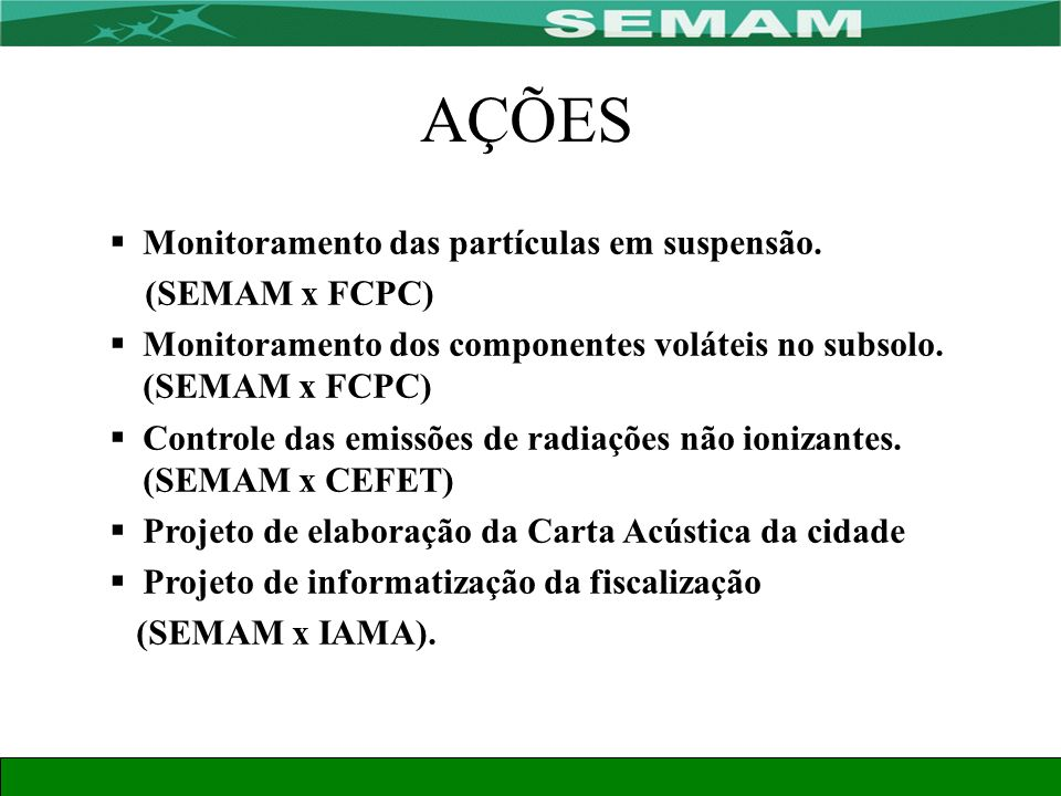 AÇÕES Monitoramento das partículas em suspensão. (SEMAM x FCPC)