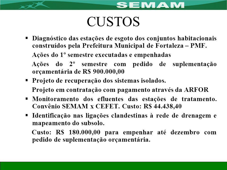 CUSTOS Diagnóstico das estações de esgoto dos conjuntos habitacionais construídos pela Prefeitura Municipal de Fortaleza – PMF.