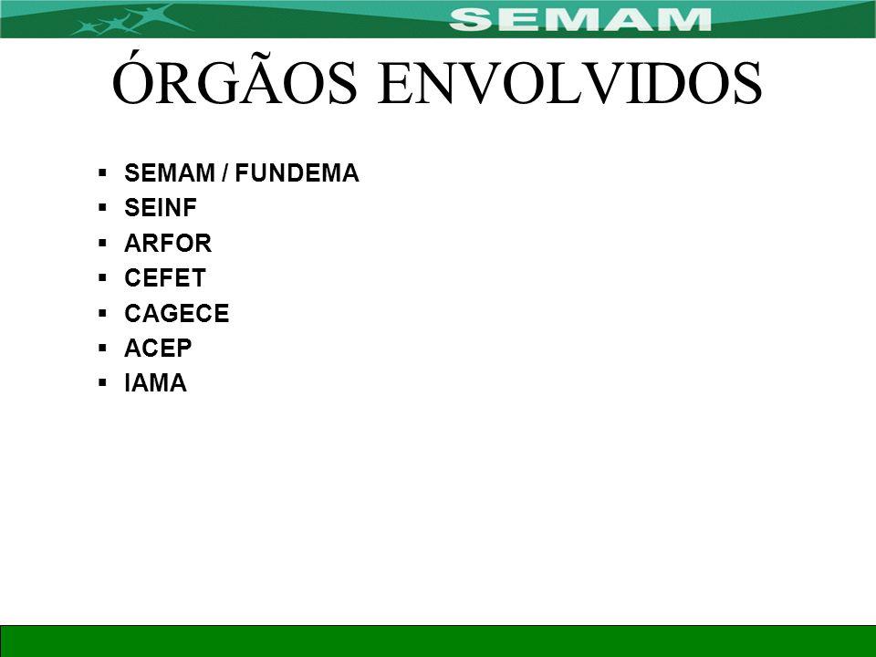 ÓRGÃOS ENVOLVIDOS SEMAM / FUNDEMA SEINF ARFOR CEFET CAGECE ACEP IAMA