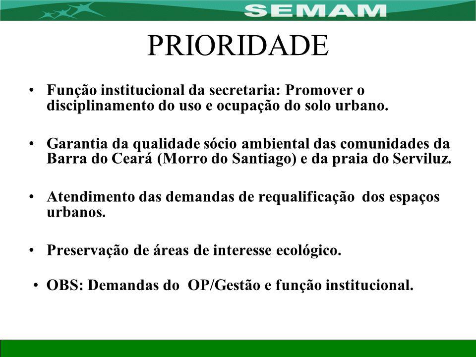 PRIORIDADE Função institucional da secretaria: Promover o disciplinamento do uso e ocupação do solo urbano.