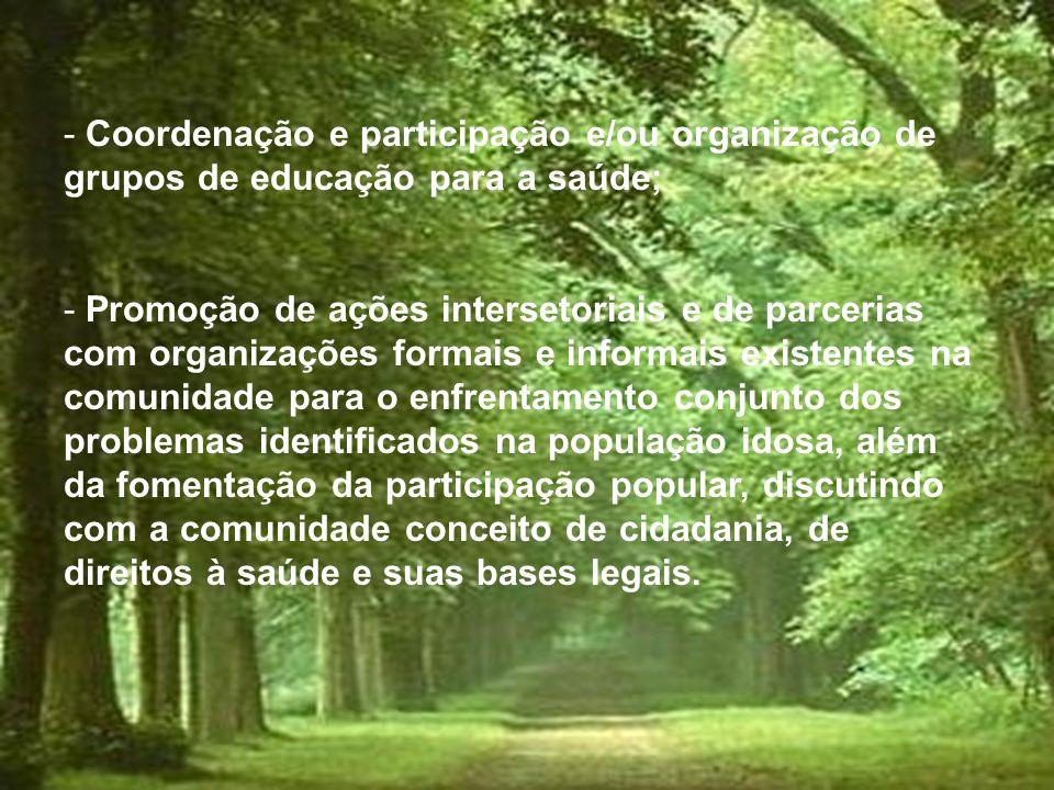 Coordenação e participação e/ou organização de grupos de educação para a saúde;