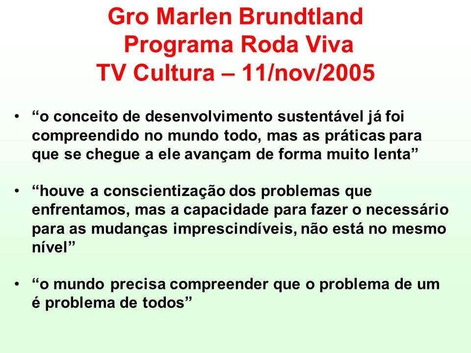 Gro Marlen Brundtland Programa Roda Viva TV Cultura – 11/nov/2005