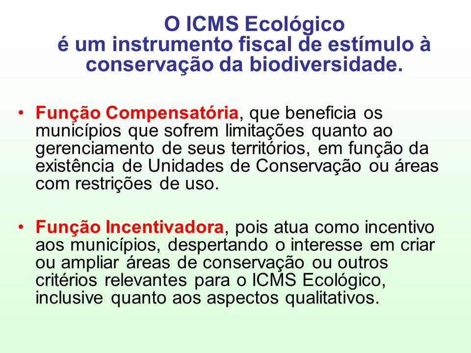 O ICMS Ecológico é um instrumento fiscal de estímulo à conservação da biodiversidade.