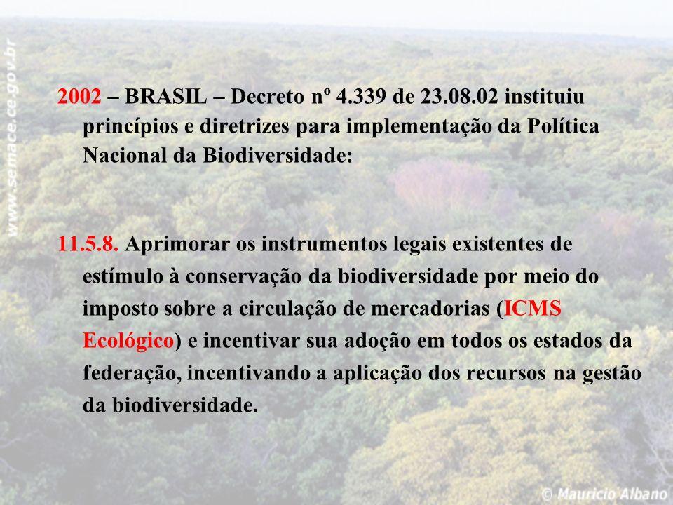 2002 – BRASIL – Decreto nº 4.339 de 23.08.02 instituiu princípios e diretrizes para implementação da Política Nacional da Biodiversidade: