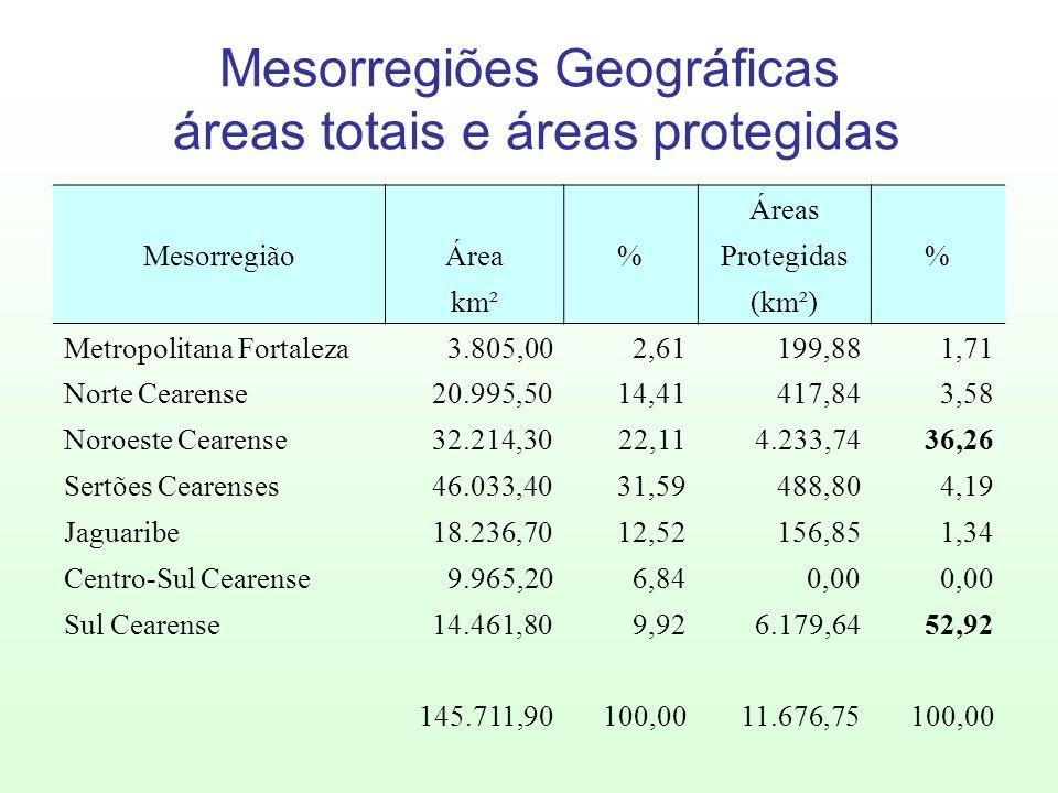 Mesorregiões Geográficas áreas totais e áreas protegidas
