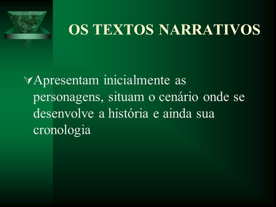 OS TEXTOS NARRATIVOS Apresentam inicialmente as personagens, situam o cenário onde se desenvolve a história e ainda sua cronologia.