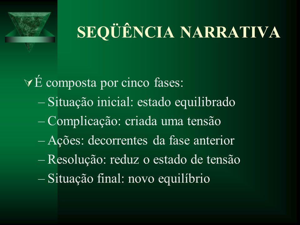 SEQÜÊNCIA NARRATIVA É composta por cinco fases: