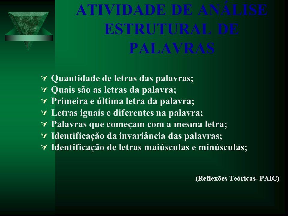 ATIVIDADE DE ANÁLISE ESTRUTURAL DE PALAVRAS