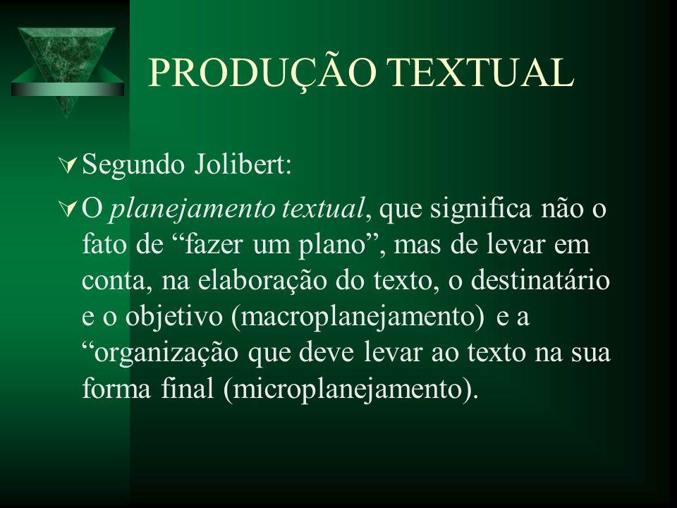 PRODUÇÃO TEXTUAL Segundo Jolibert: