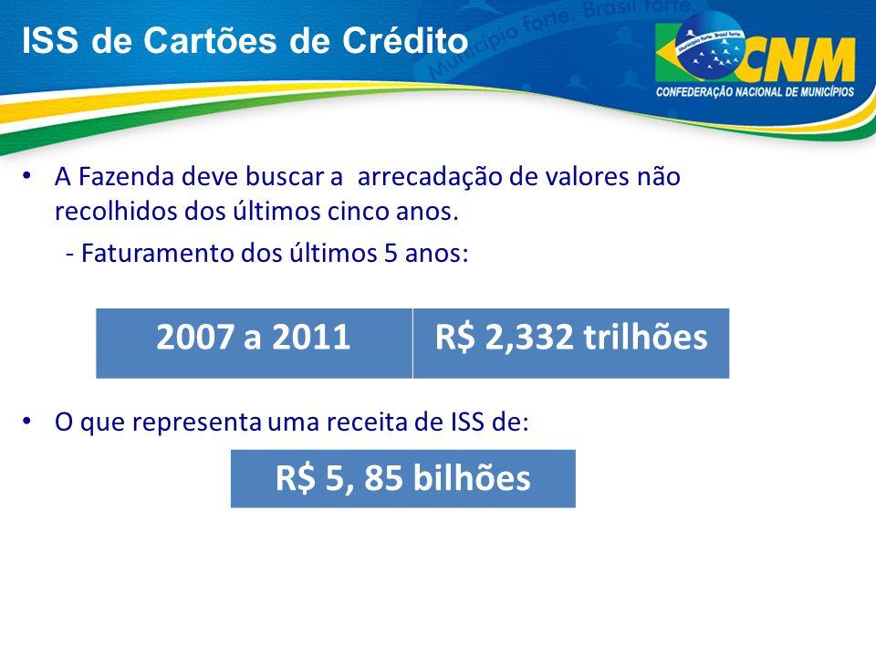 2007 a 2011 R$ 2,332 trilhões R$ 5, 85 bilhões