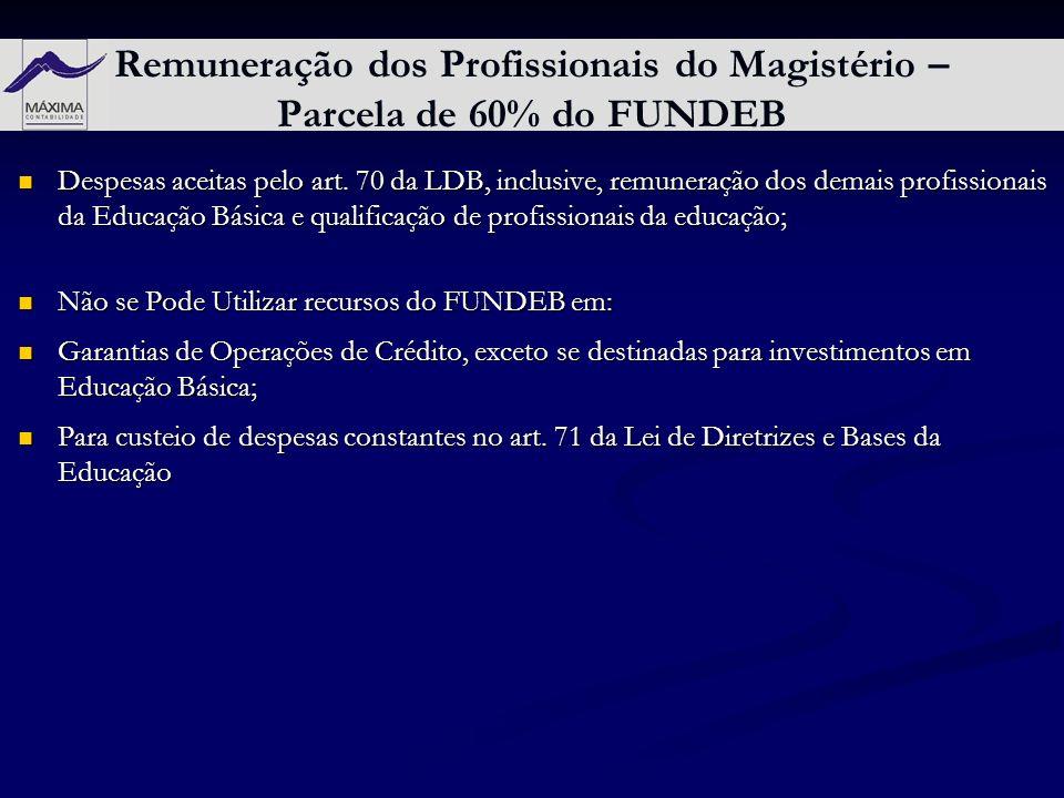 Remuneração dos Profissionais do Magistério – Parcela de 60% do FUNDEB