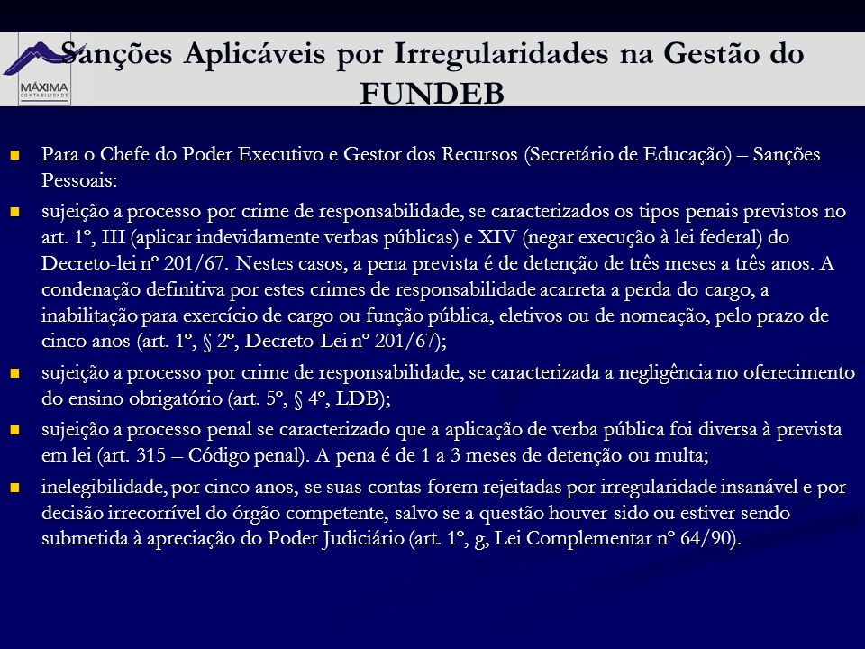 Sanções Aplicáveis por Irregularidades na Gestão do FUNDEB
