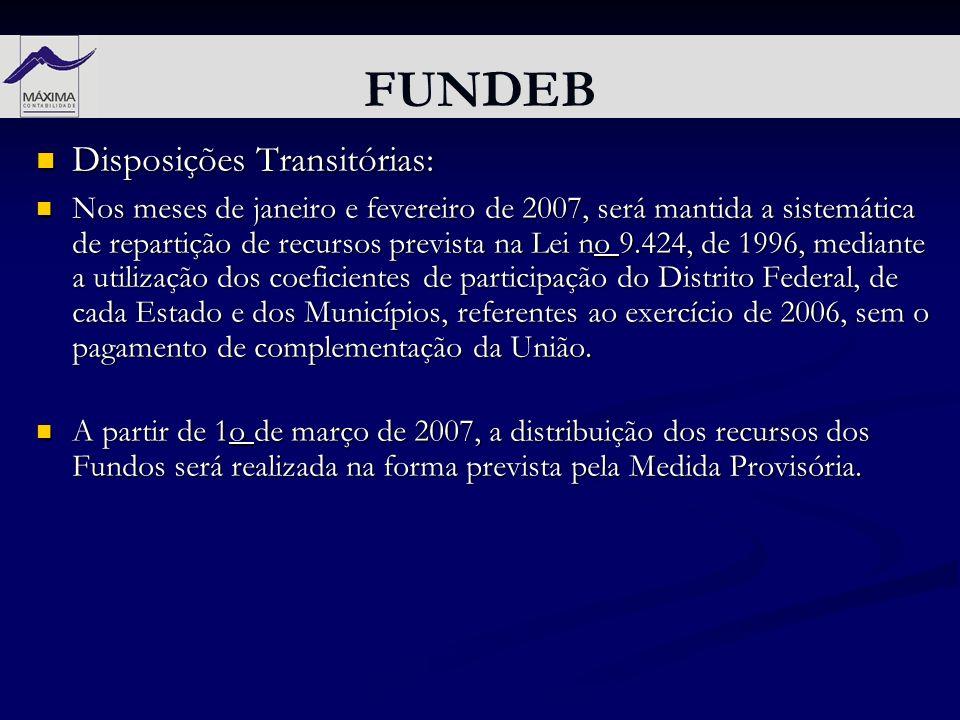 FUNDEB Disposições Transitórias: