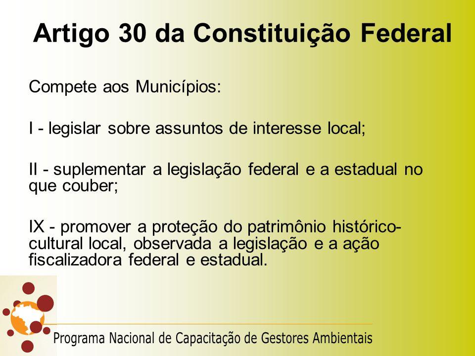 Artigo 30 da Constituição Federal