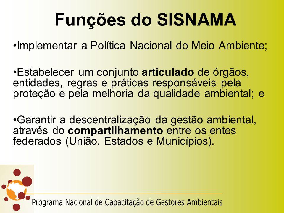 Funções do SISNAMA Implementar a Política Nacional do Meio Ambiente;