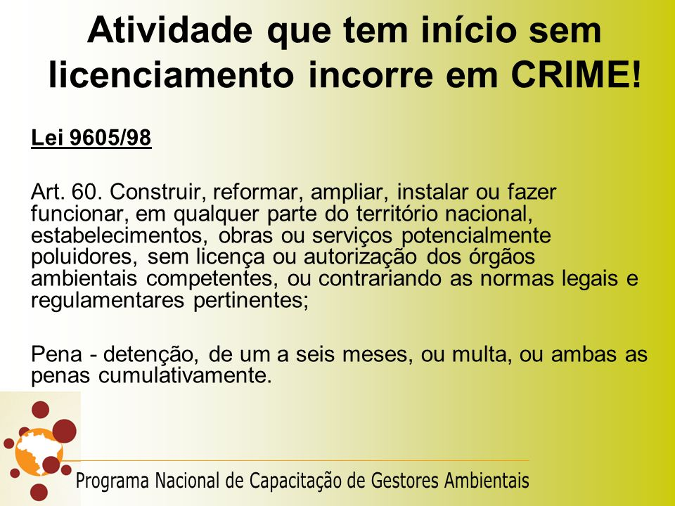 Atividade que tem início sem licenciamento incorre em CRIME!