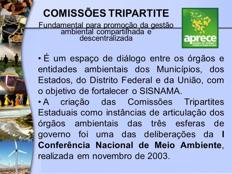 COMISSÕES TRIPARTITE Fundamental para promoção da gestão ambiental compartilhada e descentralizada.