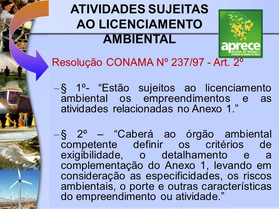 ATIVIDADES SUJEITAS AO LICENCIAMENTO AMBIENTAL